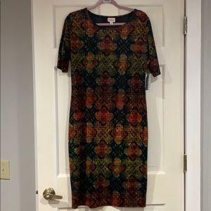LuLaRoe multi-colored Julia dress XL NWT